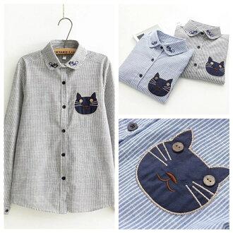 森女系立領排扣搞怪貓咪條紋長袖襯衫