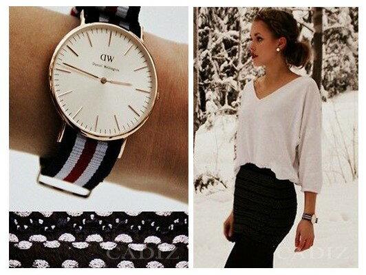 瑞典正品代購 Daniel Wellington 0102DW 玫瑰金 尼龍 帆布錶帶 手錶腕錶 40MM 1