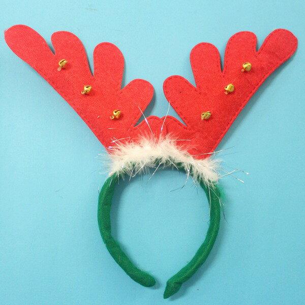 聖誕鹿角頭箍 聖誕髮箍 鹿角髮夾 鹿角頭飾(白羽毛+鈴鐺)/一袋10個入{定50}可愛麋鹿角 聖誕頭圈~5414
