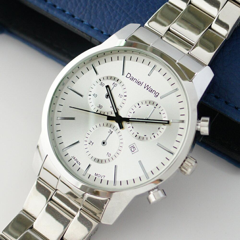 Daniel Wang 3136-S 霸氣大錶面經典三眼石英銀框金屬男錶 1