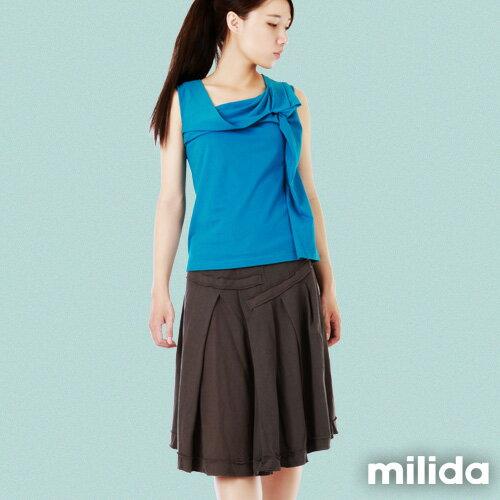 【milida】☆裙裝單品☆前短後長及膝裙