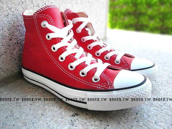 [23cm]《限量5折》Shoestw【XXXU170444】CONVERSE 帆布鞋 ALLSTAR 基本款 荔枝皮 鋼印 紅高 皮革