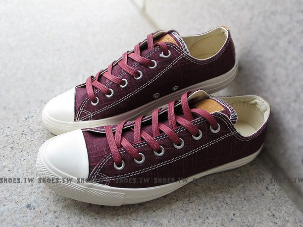 [28.5cm]《限量5折》Shoestw【142267C】CONVERSE 帆布鞋 CTAS 不織布 水洗 格紋 酒紅色 男款