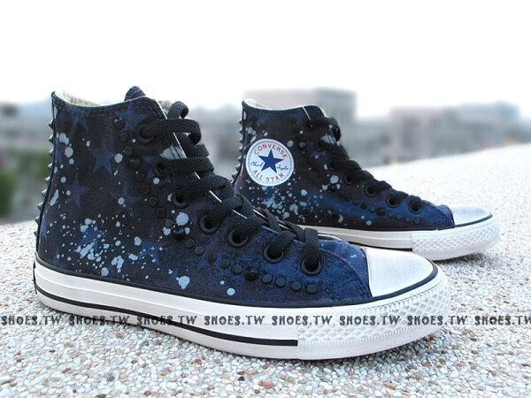 《限量5折》鞋殿【142220C】CONVERSE 帆布鞋 特殊潑墨星星 龐克 ROCK 鉚釘 仿舊刷黑復古風 男女款