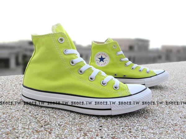 [24.5cm]《限量5折》Shoestw【142370C】CONVERSE 帆布鞋 ALLSTAR 基本款 高筒帆布 螢光黃 女款