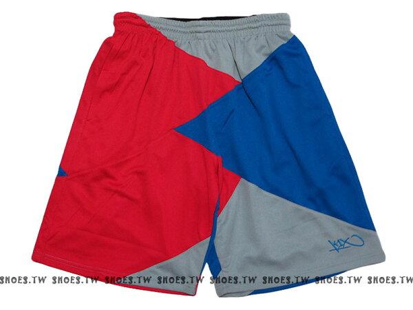 Shoestw【140002296434】K1X 德國街頭籃球服飾 球褲 籃球褲 紅藍灰 拼接 男款