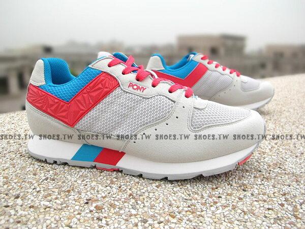 《超值5折》【51M1SO83SY】PONY SOLA-V 復古慢跑鞋 內增高 灰紅藍 樂高 麂皮 男款