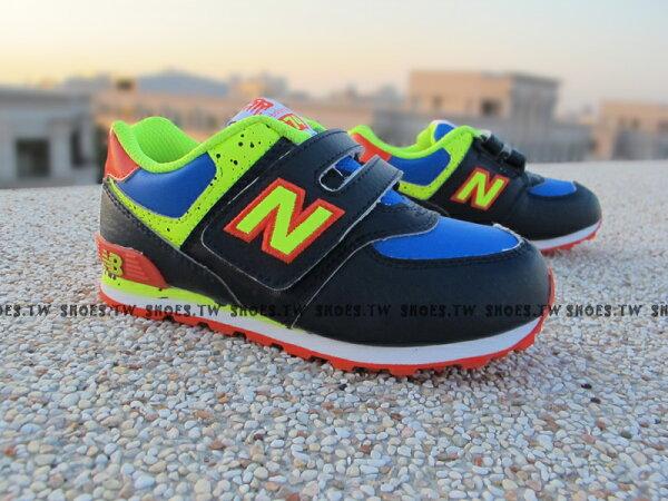 《超值6折》【KG574NYI】NEW BALANCE 574 復古慢跑鞋 童鞋 運動鞋 小童 深藍螢光綠 大麥町