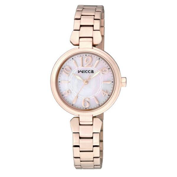 CITIZEN星辰WICCA^(BG3~821~11^)玫瑰金典雅 腕錶 粉紅面26mm