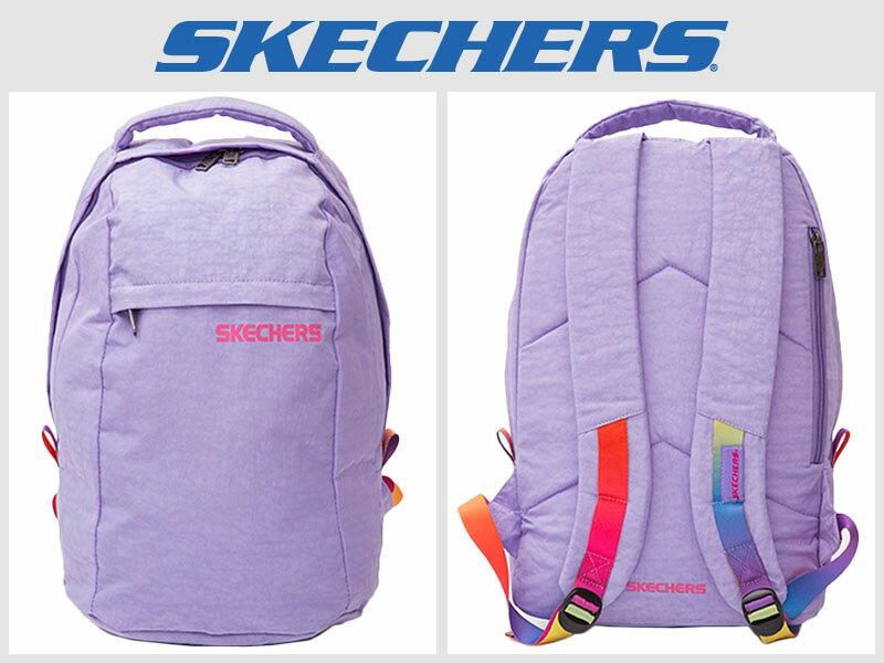 Shoestw【S05070】SKECHES 運動後背包 輕量 紫彩色背帶 多拉鍊層 多功能包