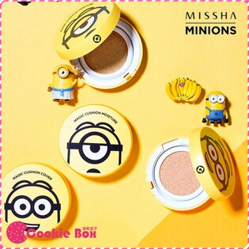 韓國 MISSHA x MINIONS 小小兵 系列 保濕 遮瑕 氣墊粉餅 (1+1補充蕊) 組合 *餅乾盒子*