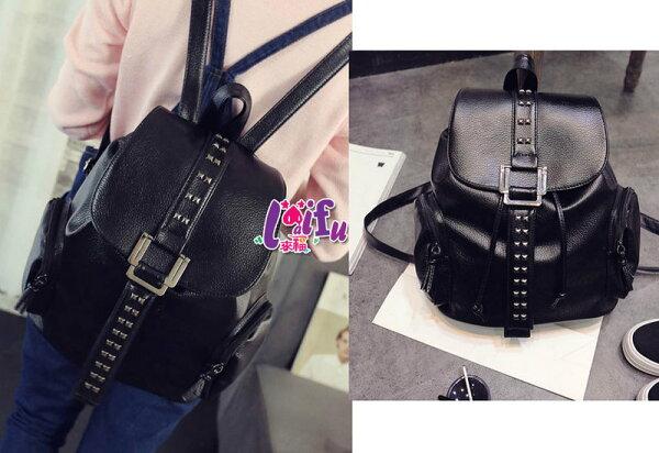 ★草魚妹★H434後背鉚釘包黑色包包後背包,售價580元