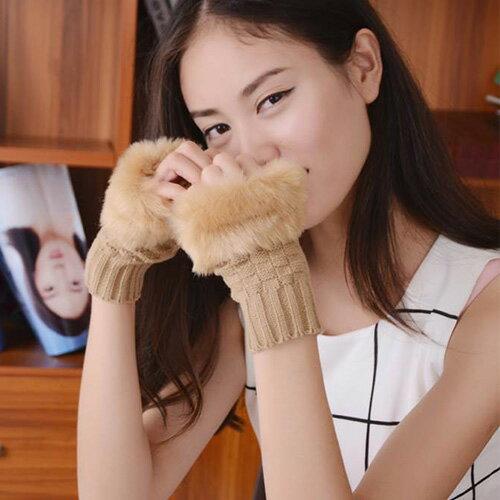 針織手套 萌毛毛拼接 保暖 針織 露指 手套【PU1127】 BOBI  11/17 0