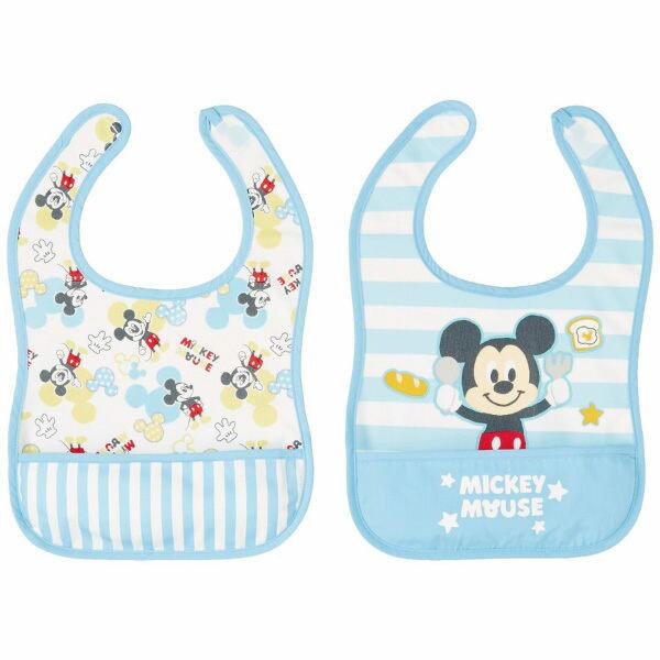 日本 【迪士尼 Disney 】寶貝米奇寬版圍兜兜(2件組) - 限時優惠好康折扣