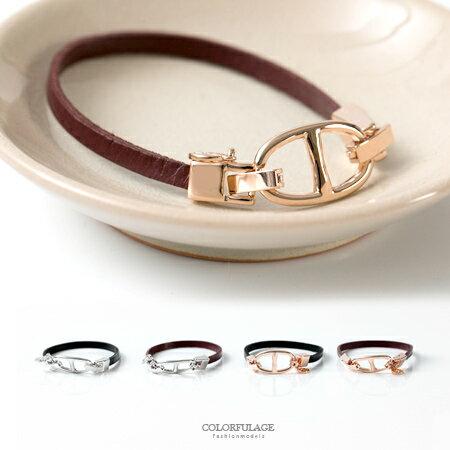 手鍊 雙D扣頭設計搭配細版質感皮革手環 女孩專屬小物 質感百搭 柒彩年代【NA382】精緻單品 0