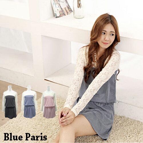 洋裝 - 細條紋拼接雕花蕾絲袖縮腰短洋裝《3色》藍色巴黎 【22273】 現貨商品