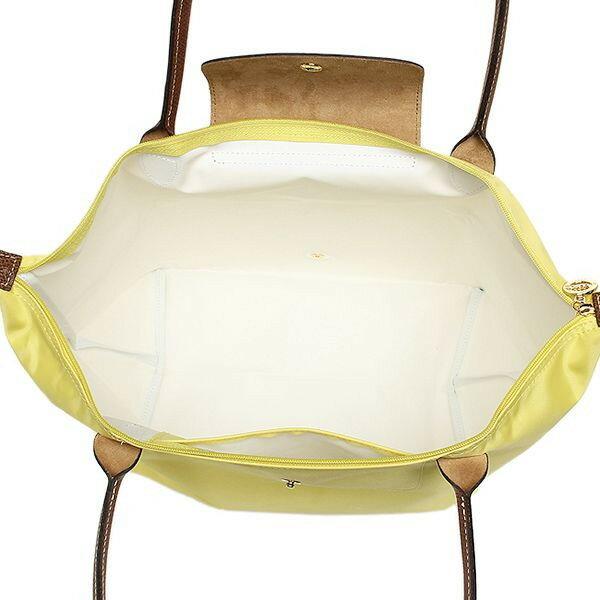 [長柄M號]國外Outlet代購正品 法國巴黎 Longchamp [1899-M號] 長柄 購物袋防水尼龍手提肩背水餃包 檸檬黃 3