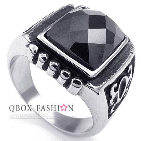 《 QBOX 》FASHION 飾品【W10023735】精緻個性智慧方黑鋯石鑄造316L鈦鋼戒指/戒環(推薦)