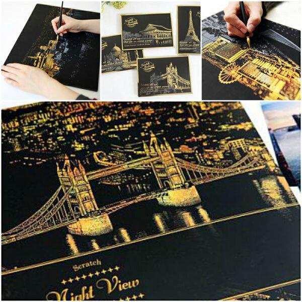明信片版本*4款 韓國夜景 刮刮畫 刮刮本 金色城市夜景圖 韓國夜景刮刮本 非 祕密花園 療癒 ~斯瑪鋒數位~