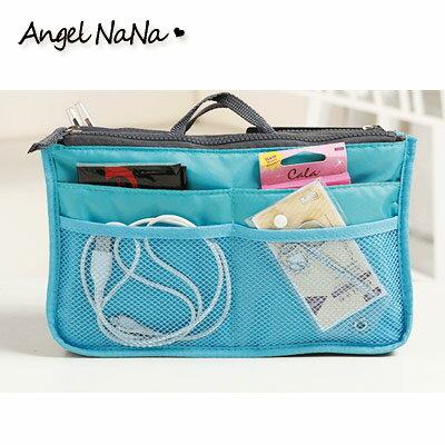 AngelNaNa【B028】包中包。8色(可挑色)雙拉鍊雙層超大加厚手提式袋中袋收納包