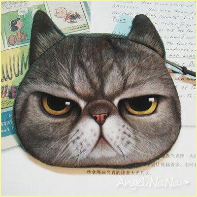 AngelNaNa【B038】可愛人氣 療癒系 喵星人 貓咪大頭 水汪汪大眼 零錢包 鑰匙包