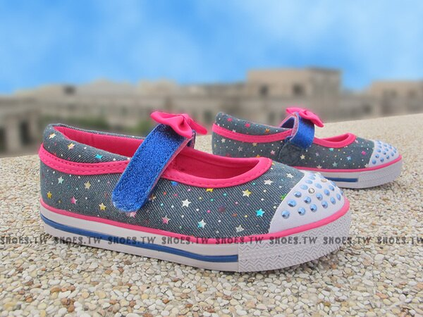 Shoestw【10603NDNHP】SKECHERS 小童鞋 娃娃鞋 電燈鞋 LED 灰藍桃紅 記憶泡棉鞋墊