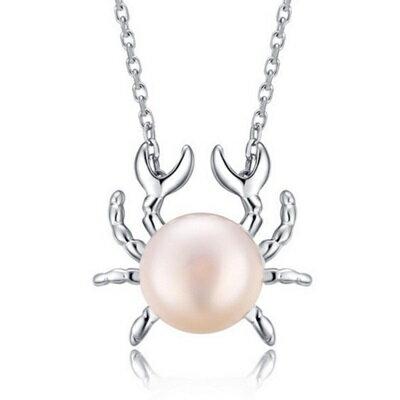 ~925純銀~項鍊 珍珠墜飾~ 可愛螃蟹母親節生日情人節 女 銀飾73w52~ ~~米蘭