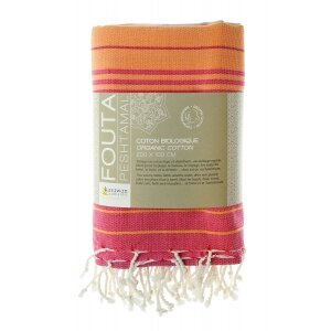 『法國原裝』獨家代理 - 100% Coton Organic  有機綿 (超吸水)歐洲經典 橘色條紋大浴巾 Foutas  3