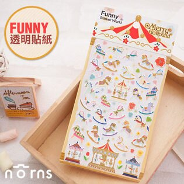 NORNS 【韓國Funny旋轉木馬貼紙】mini 7s 25 50s拍立得照片、相本日記本裝飾貼紙