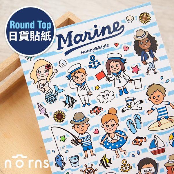 NORNS 【Round Top 日貨貼紙-Marine】海軍 水手 日記 手帳 行事曆 拍立得照片 裝飾貼紙