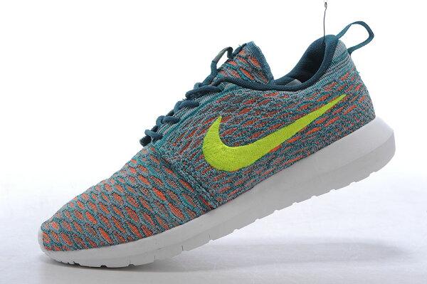 Nike Roshe Run Flyknit 倫敦編織飛線 慢跑鞋 運動鞋 男鞋 湖藍熒光黃