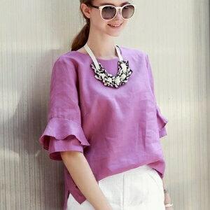 美麗大街~IR3244~圓領純色寬鬆喇叭中袖棉麻襯衣女上衣 ~  好康折扣