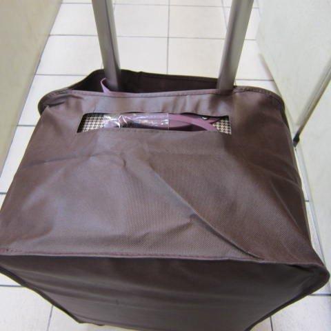 ~雪黛屋~Lian 行李箱防塵套 行李箱保護套輕便好攜帶收納厚棉織布防水收納防塵25吋咖(中)