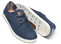 TOMS Navy Canvas Classics  男 素面綁帶藍色平底鞋  現貨+預購