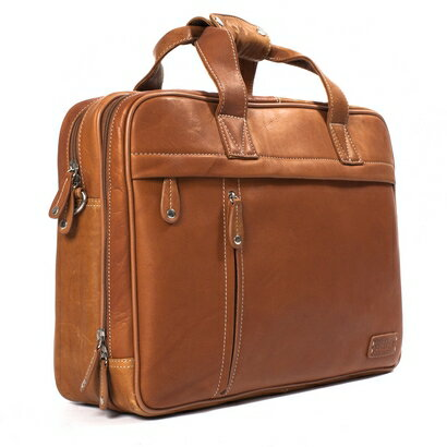 Woodland Leather Clerk Twin Handle Laptop Briefcase (tan) 0