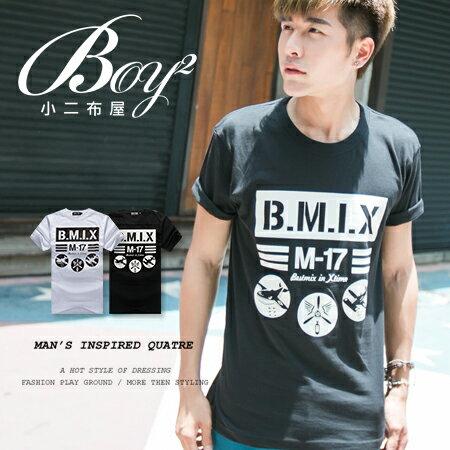 ☆BOY-2☆【ND5470】短袖T恤休閒潮流色塊條紋飛機印花短T 0