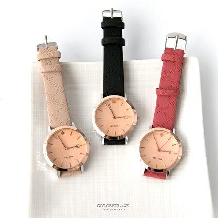 手錶 黑桃12點鐘刻度造型壓紋皮革腕錶 玫瑰金色澤 實用日期窗 柒彩年代【NE1823】單支售價 - 限時優惠好康折扣