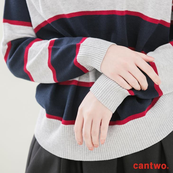 cantwo復古三色條紋V領針織上衣(共二色) 5