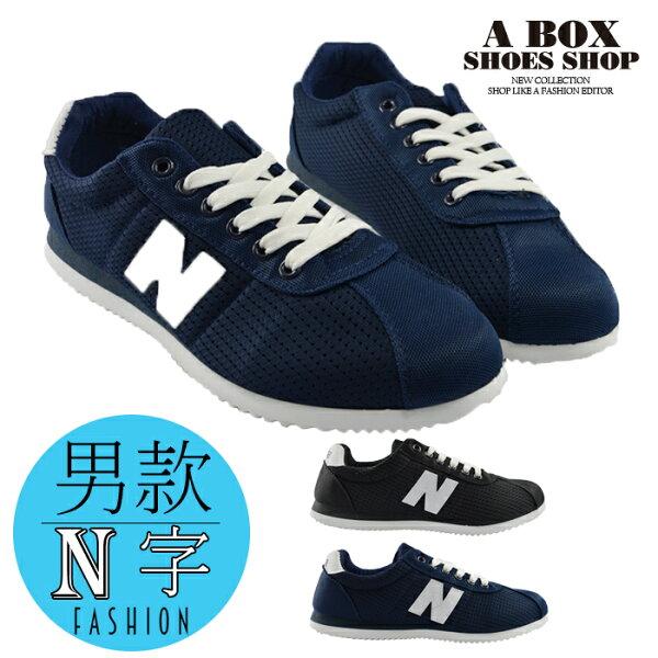 格子舖*【AAC110】★399免運★  *限時免運* (男款24.5-26.5CM)韓版型男N字 綁帶休閒鞋 板鞋 帆布鞋 黑色/藍色 2色