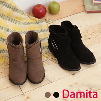 短靴-Damita 麂皮反摺魔鬼氈內增高短靴 ( 2色 ) 現+預