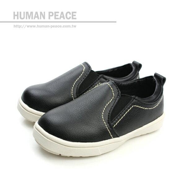 小男生鞋 皮革 舒適 好穿脫 懶人鞋 戶外休閒鞋 黑 小童 no051