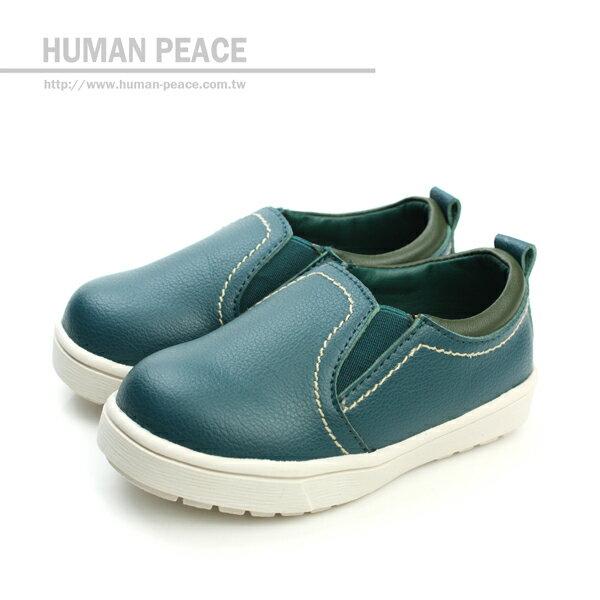 小男生鞋 皮革 舒適 好穿脫 懶人鞋 戶外休閒鞋 綠 小童 no052