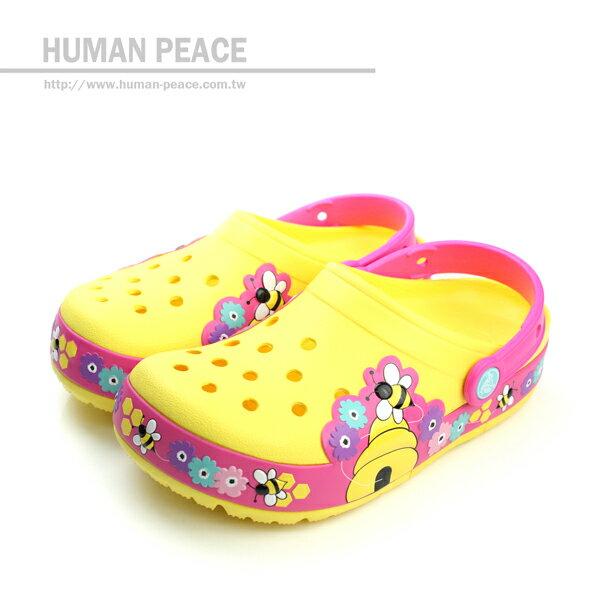 Crocs 小蜜蜂 舒適 透氣 好穿脫 電燈鞋 戶外休閒鞋 黃 中童 no222 ~  好