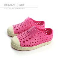 native 輕量懶人鞋、休閒防水鞋到native JEFFERSON CHILD 洞洞鞋 桃紅 小童 no303