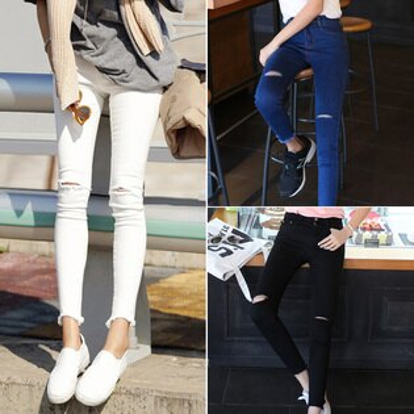 PS Mall 韓版高腰膝蓋破洞白色毛邊九分牛仔長褲【T2179】