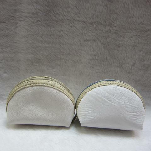 ~雪黛屋~ sandia-polo 零錢包一組三個大中小多功能使用防水尼龍布材質+進口皮革70-SA556-01 白系列