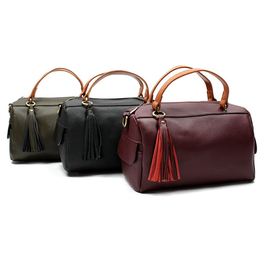 【BEIBAOBAO】法式甜美流蘇真皮側背包(共三色 時尚黑) 1