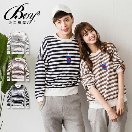 ☆BOY-2☆ 【NQ96021】情侶電繡飲料條紋上衣 0