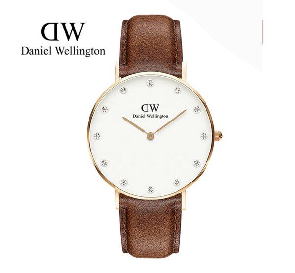 瑞典正品代購 Daniel Wellington 0950DW  玫瑰金鑽  真皮 錶帶 男女錶 手錶腕錶 34MM