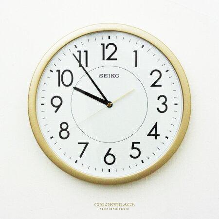 SEIKO精工掛鐘 時尚金色外框時鐘 面板夜光功能 滑動式秒針 柒彩年代【NG1726】原廠公司貨 0